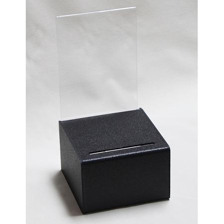 Countertop Black Plastic Ballot Box Leadbox